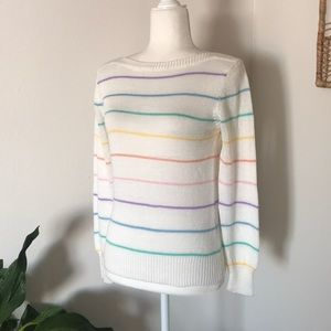 Vintage rainbow striped boatneck sweater